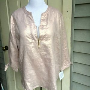Ellen Tracy 100% tinsel linen blouse size L
